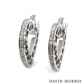 David Morris 18k White Gold Diamond Heart Earrings